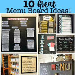 One of the best ways to get yourself into the habit of weekly meal planning is to hang a menu board in your kitchen. So to inspire you to get organized with your menu planning- here are 10 great menu board ideas! I hope that you find one that will work for you!