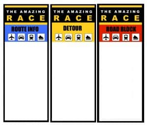 Amazing Race blank cards