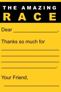Amazing Race thank you notes