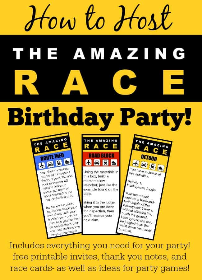 Fantastic ideas for hosting an Amazing Race birthday party at home! This post includes free printable amazing race party invitations, amazing race challenges, and amazing race thank you notes! 