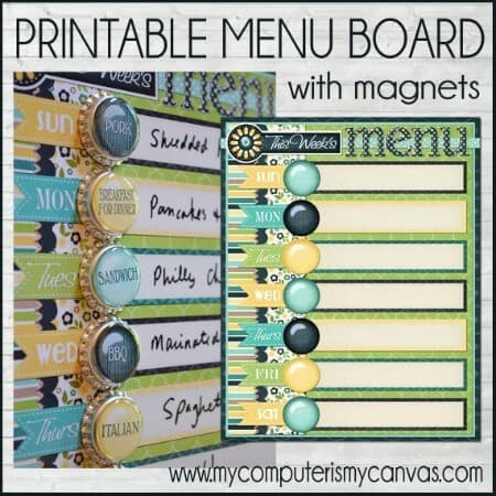 printable menu planning board