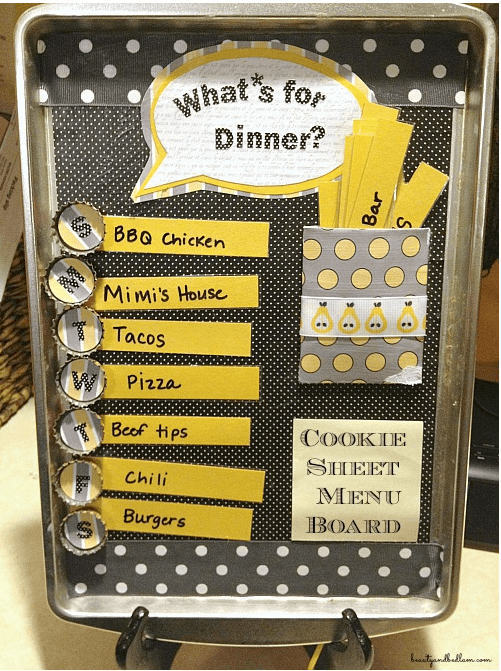 cookie sheet menu planning board