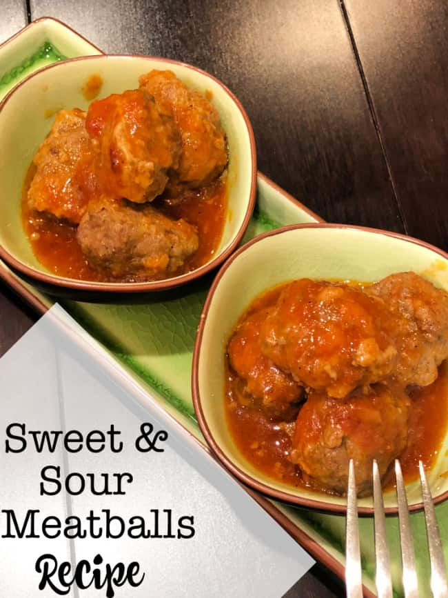 One of my favorite appetizers are these sweet and sour meatballs served in a tasty tangy sauce! They are just perfect for a snacky dinner!