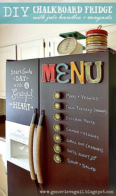 chalkboard fridge menu board