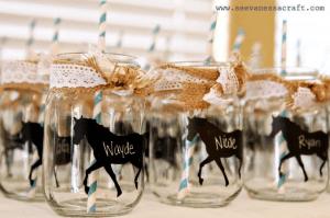 Mason jars with Horses