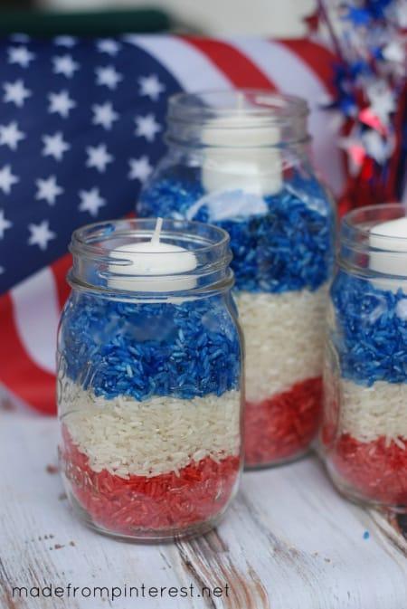 July 4th mason jar candles