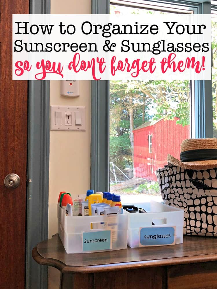 I've found that the best way for me to make sure that we each actually apply sunscreen before heading outside, is for us to see it right there by the door! So I decided to create a little