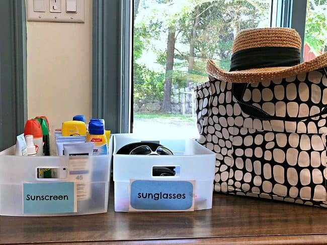 "I've found that the best way for me to make sure that we each actually apply sunscreen before heading outside, is for us to see it right there by the door! So I decided to create a little ""fun in the sun"" station to help me in organizing sunscreen and sunglasses."