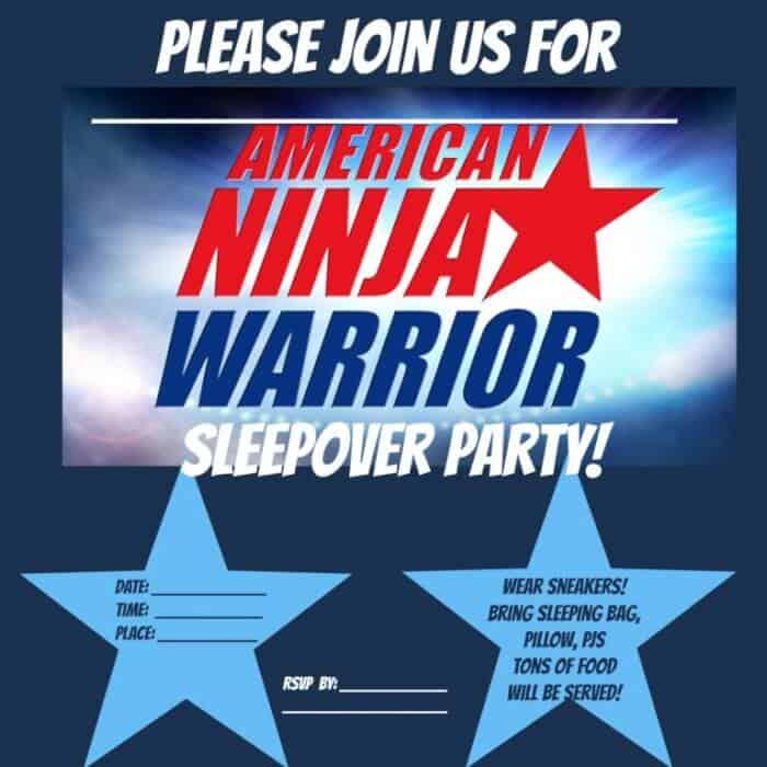 America Ninja Warrior Blank Invite - MomOf6