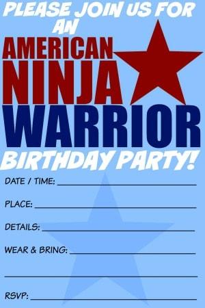 ninja warrior birthday invitation template free