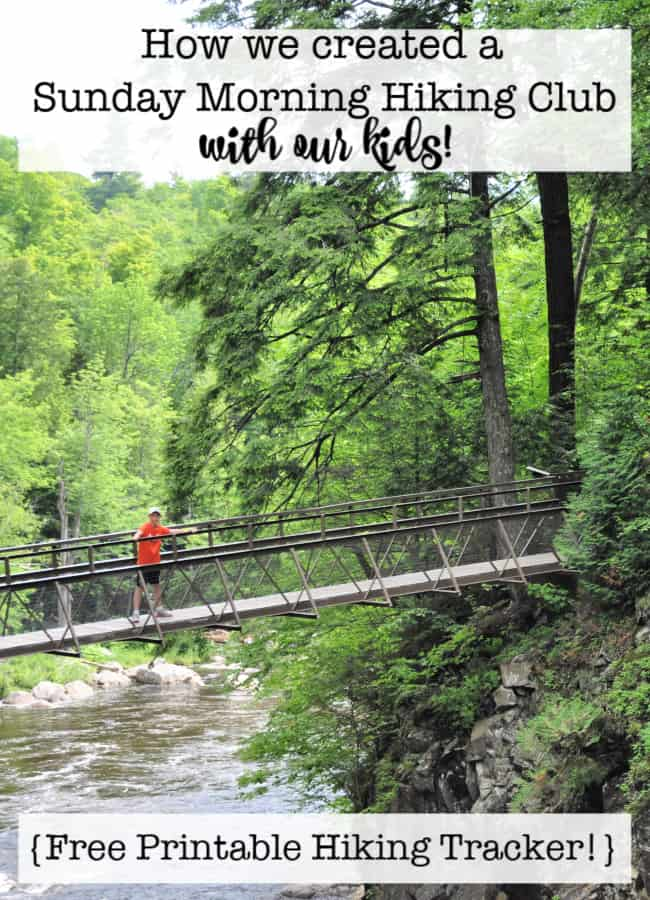 "Are you looking for some ideas on hiking with kids? I'll show you how we created a ""Sunday morning hiking club"" with our family, the incentive plan we use, and free printable hiking tracking sheet!"