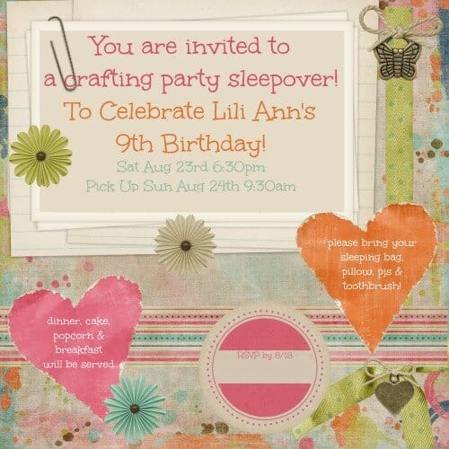 craft party invite