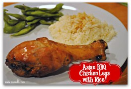 Asian BBQ Chicken Legs with Rice