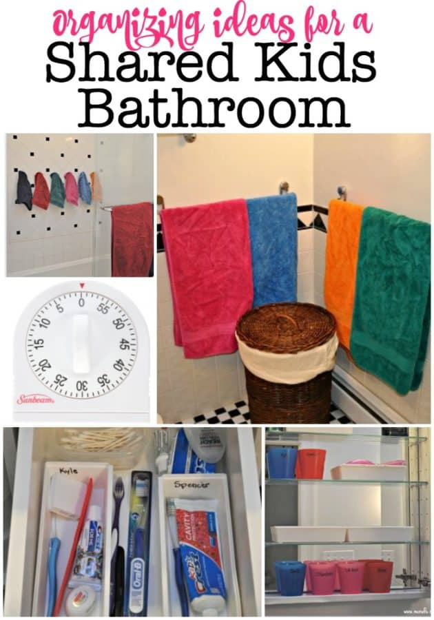 When you have six kids and they all share one bathroom, it helps to have some systems in place so they can keep it organized! Here are some organizing ideas we use in our kids shared bathroom!