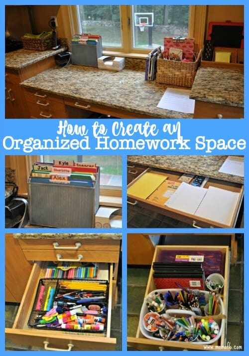 Here's how I created an organized homework space so that when the kids come home from school with their backpacks overflowing with paperwork- there is a