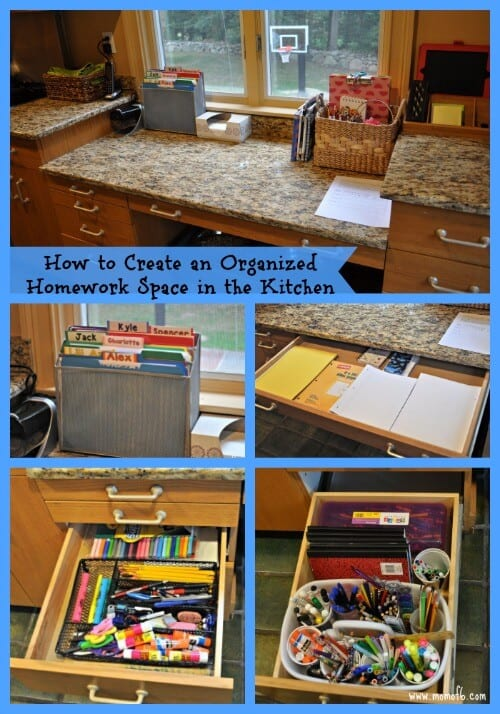 When the kids come home from school with their backpacks overflowing with paperwork- it's great if there is an organized homework space for them to unload it all, and a way to keep all of their supplies organized. Here's how I created an organized homework space in the kitchen for my large family!