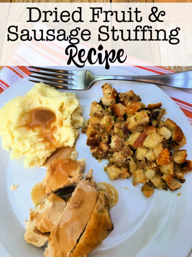This delicious sausage and dried fruit stuffing is savory, tangy, with bread that is soft yet crunchy. that pairs nicely with chicken and turkey and heck- is even tasty at breakfast the next day!