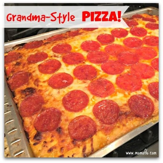 It's not called Grandma Style Pizza because it is pizza like your grandma used to make- it's the really just the name given to the rectangular pizzas you see at old-school pizza places- with the thick crust that's crispy on the bottom yet soft to bit into. We make this almost once a week- and never order delivery anymore!