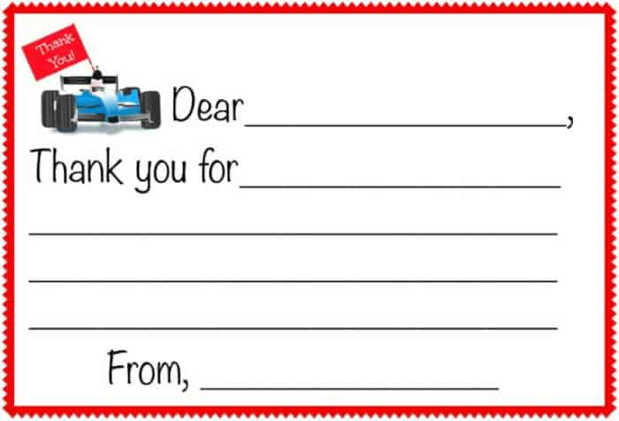 Race Car Party Thank You Note