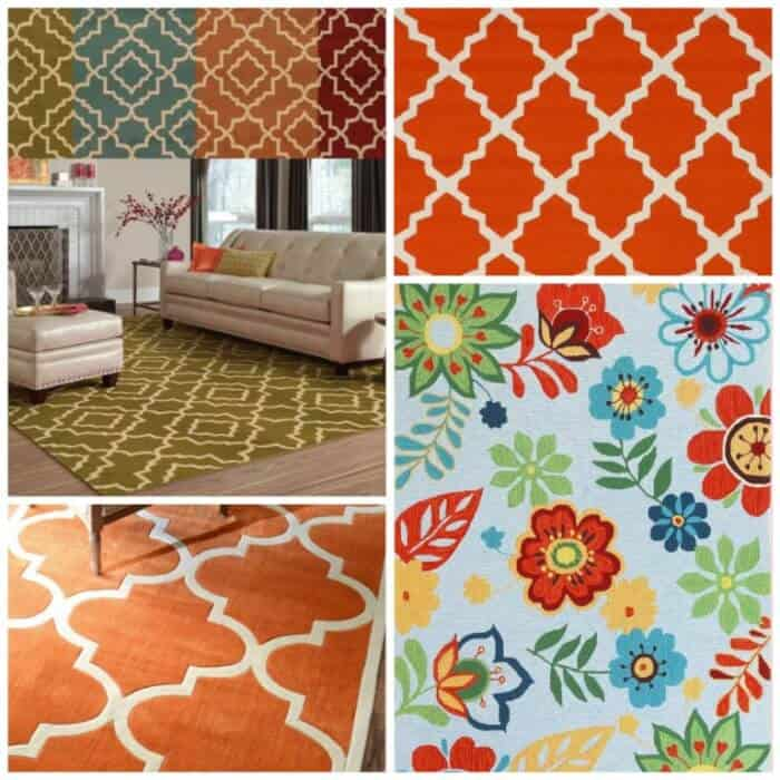 For Rugs I Was Thinking About Going With Something Either Geometric Or Floral That Incorporated Orange Thoughts Chair Fabric Collage