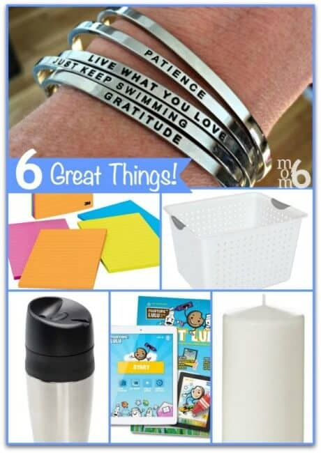 6 Great Things I am loving in Feb 2015! Mantrabands, lined post it notes, storage bins, Painting Lulu, OXO travel mug, and pillar candles!