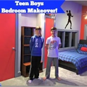 This is the project that took us too long to get around to doing- the teen boys bedroom makeover! Goodbye mustard colored walls and hello cool teen space!