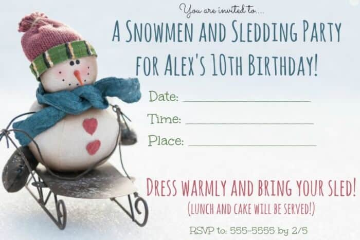 Looking for some great winter birthday party ideas snowmen and this is a great idea for a winter birthday party a snowmen and sledding party filmwisefo Image collections