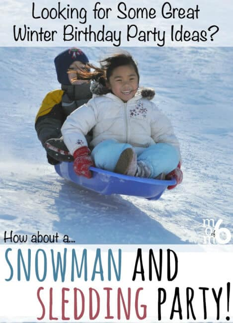 This is a great idea for a winter birthday party- a snowmen and sledding party! This post includes free printable invitations and thank you notes plus tons of great winter birthday party ideas!