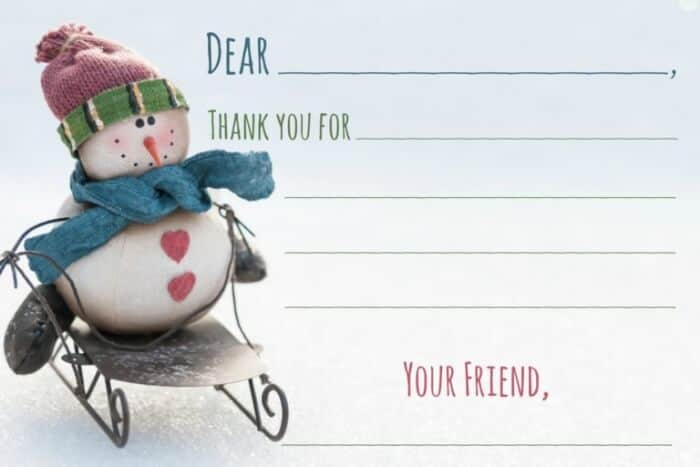 winter birthday party printable thank you note
