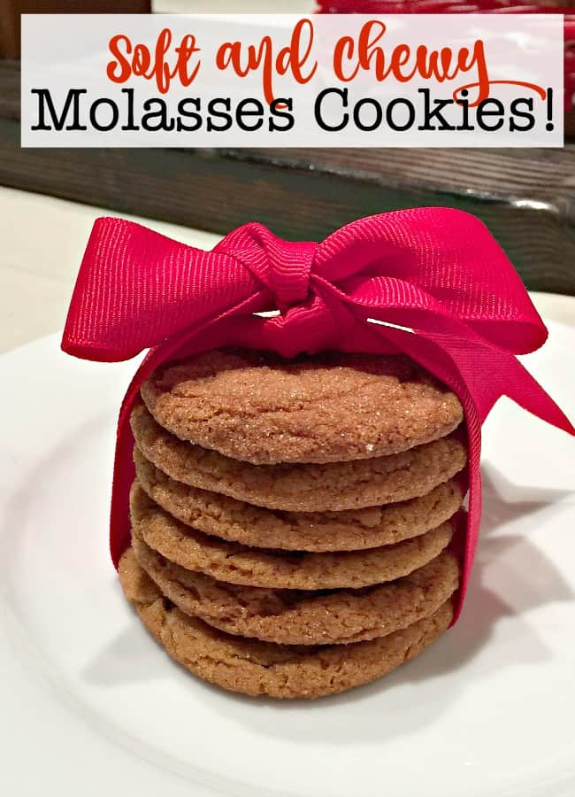 These soft and chewy molasses cookies are a definite family favorite! In fact, we've been known to bake them for birthdays and stick a candle in the top of a stack of them as an alternative to a birthday cake! That's how much we love them!