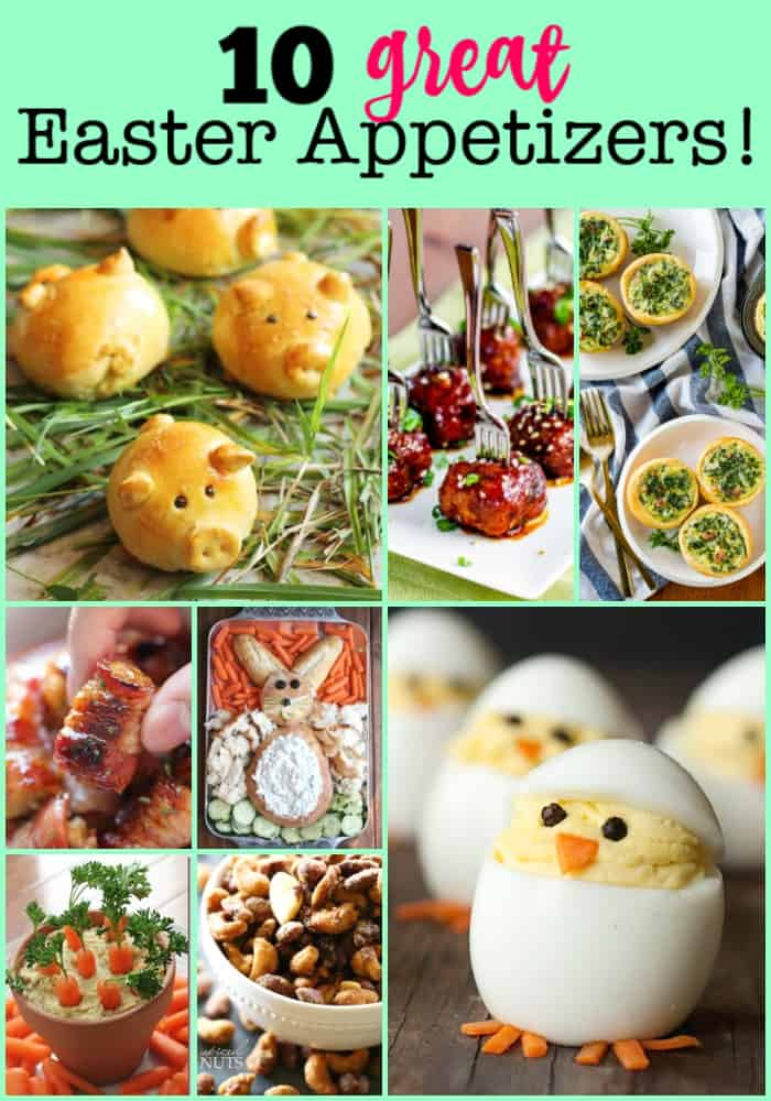 While a delicious baked ham is always the centerpiece of our meal, I also like to serve an array of Easter appetizers too. That way guests can arrive early and have some small bites to enjoy while we send the kids out on an Easter egg hunt!