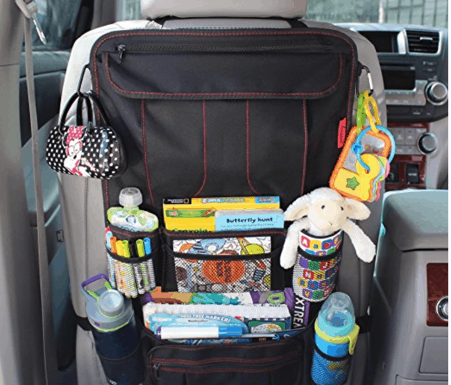 back of the seat car organizer- a road trip essentials