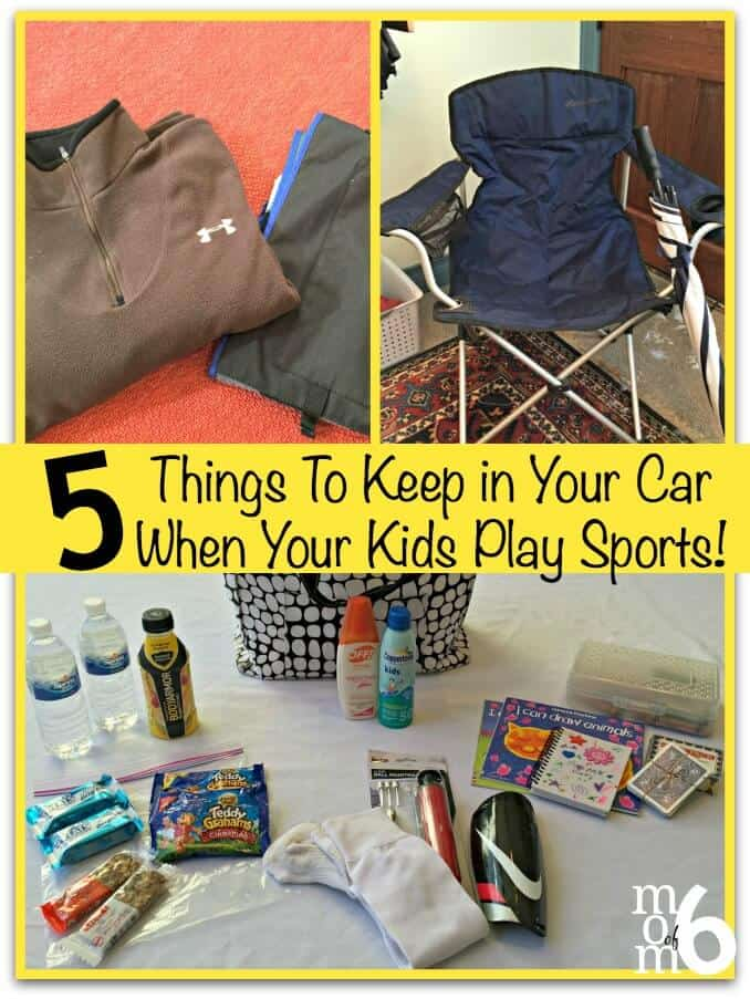 One of the smarter things I do each sports season is to spend a few minutes stashing gear in my car so that I can always be prepared for any event! Here are 5 things to keep in your car when your kids play sports!