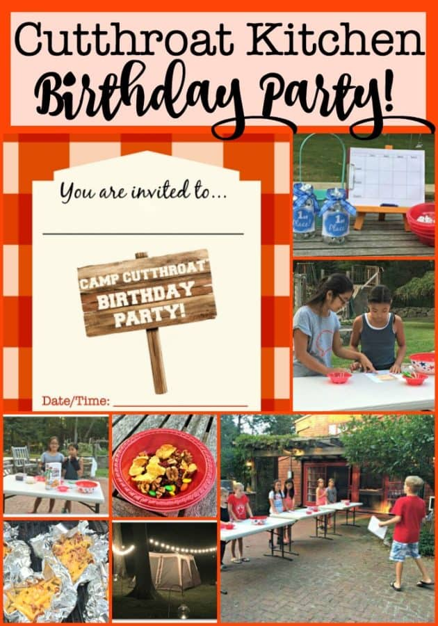 Everything you need to host a Cutthroat Kitchen birthday party at home! This post includes free printable birthday party invites, ideas for cooking competitions and sabotages and lots of tips on how to make your Cutthroat Kitchen Birthday Party awesome