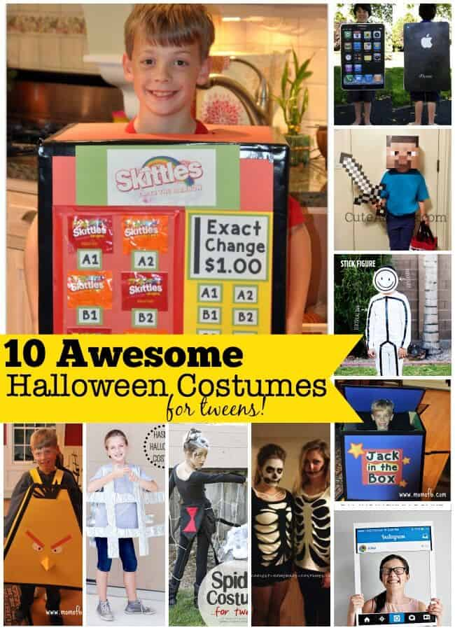 Kids can't figure out what they want to be for Halloween this year? Here are 10 awesome Halloween costumes for tweens that you can make at home!