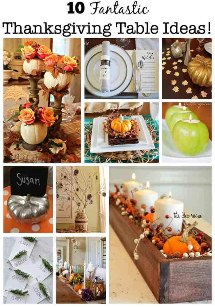 I love to set a fancied up table for Thanksgiving. It's one of those times of year that I am not worried about thenumber of dishes it adds to the evening's clean up, I don't care about the extra time it takes to make it look oh-so-pretty!If you too would like to rock your Thanksgiving table this year- here are 10 fantasticThanksgiving table ideas! #ThanksgivingTableIdeas #ThanksgivingTable #ThanksgivingDecor #MomOf6
