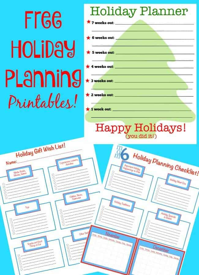Holiday Planning Printables! - MomOf6