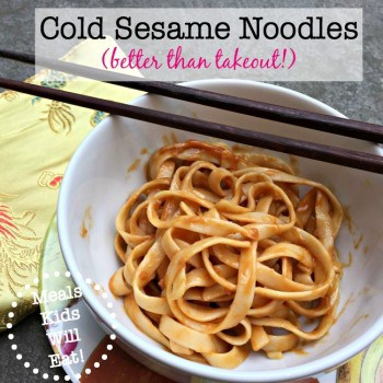 These cold sesame noodles are better than any we have ever had for take out! These are easy to prepare, make a great dinner entree and are also perfect for sending to school in a packed lunch!