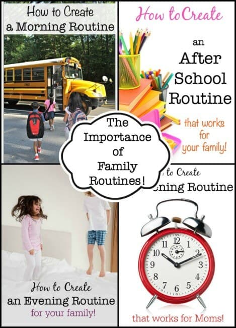 """I think that we underestimate the importance of family routines as one of the best ways to accomplish this feat of """"being organized"""". Family routines for yourself and for your kids that outline the steps of what you need to do, and the order in which you need to do them in order to get through a particular part of the day make our lives SO much easier!"""