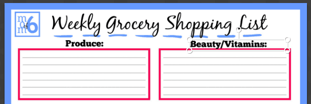 You can download this free grocery list printable, and then follow the tutorial to customize your list to match the layout of your local grocery store! It makes your weekly trip to the store so much easier!