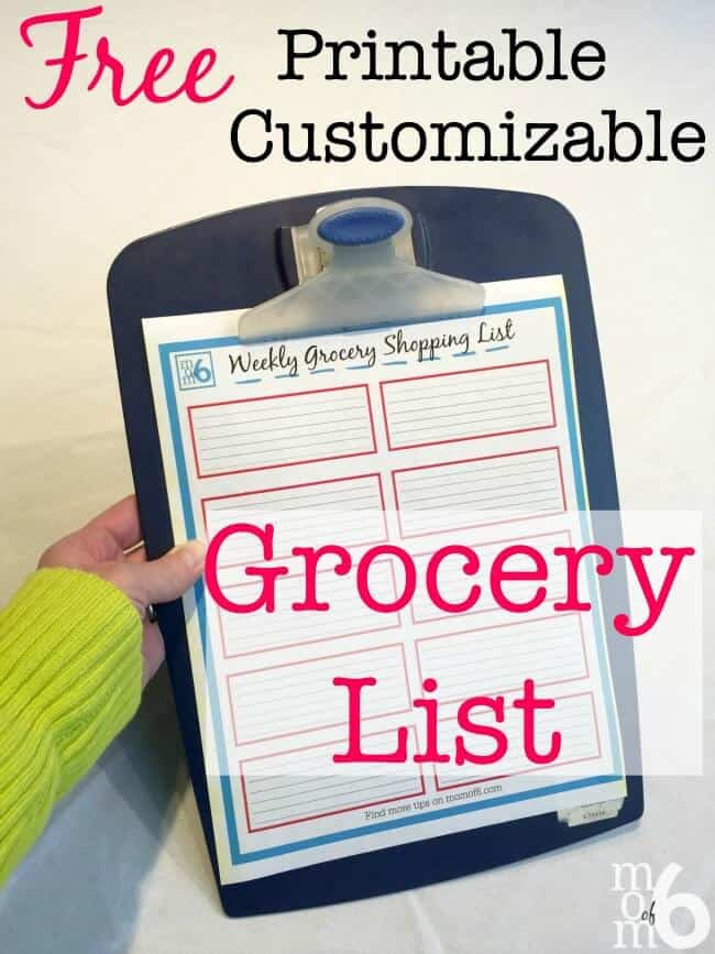Printable Grocery List  Momof