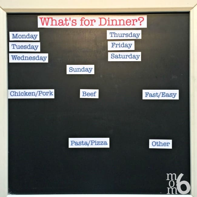 "I have been using a magnetic menu planning board for years now. I love how it makes the actual menu planning process so simple- all I have to do to pick and choose family dinners from my list and just move them into their daily spot. No more answering the question, ""What's for Dinner?""- my kids know exactly where to look!"