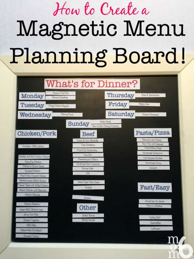 I have been using a magnetic menu planning board for years now. I love how it makes the actual menu planning process so simple- all I have to do to pick and choose family dinners from my list and just move them into their daily spot. No more answering the question,