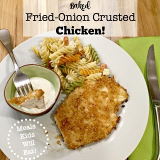 This baked fried onion crusted chicken recipe offers a unique and delicious coating for baked chicken breasts that kids will love! (Especially with ranch dressing for dipping!)