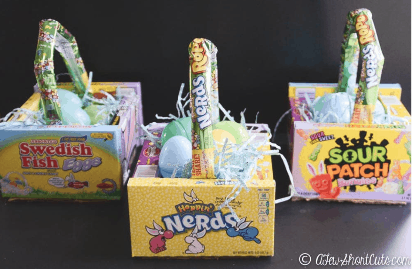 Easter baskets made from candy boxes