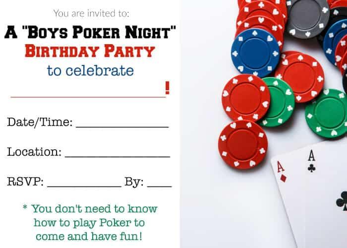 Boys Poker Night Birthday Party Momof6