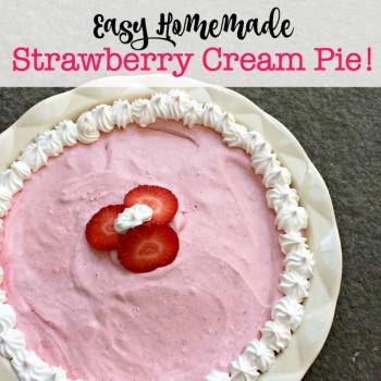 My kids adore strawberries, and I love to surprise them with a delicious strawberry-inspired after school snack! This easy homemade Strawberry Cream Pie absolutely fits the bill!
