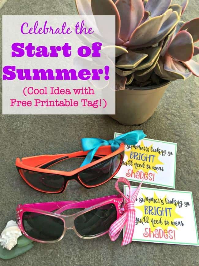 A little gift idea to celebrate the end of the school year and usher in the start of summer! A new pair of sunglasses with this cute printable tag would make for a fantastic end of year gift for your kids or end of year gift for teachers too!