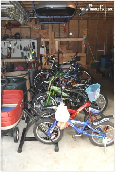 bike parking in the organized garage