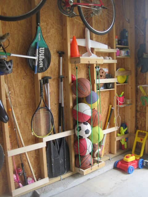 sports equipment storage in garage